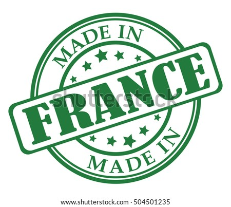 Made in France green round stamp
