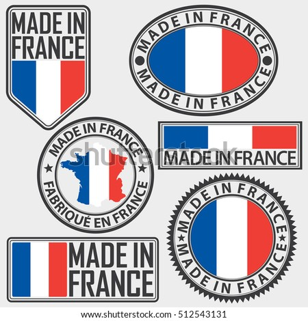 Made in France label set with flag, vector illustration