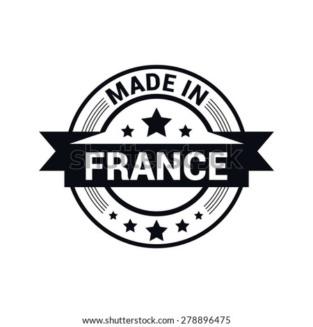 Made in France - Round black rubber stamp design isolated on white background. vector illustration vintage texture. - stock vector