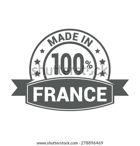 Made in France - Round gray rubber stamp design isolated on white background. vector illustration vintage texture. - stock vector