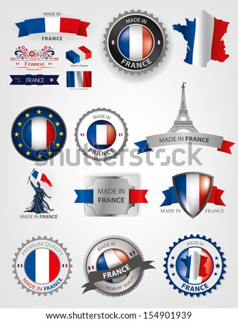 Made in France, seals, French Flag, Ribbons (Vector Art) - stock vector