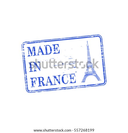 Made in France with Eiffel Tower grungy rubber stamp illustration