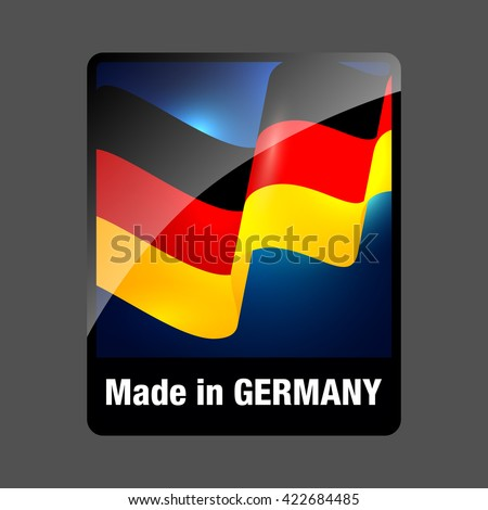 Made in Germany. Made in Germany Sticker. Germany Product Label with Flag. Made in Germany Button. Made in Germany Icon. Made in Germany Single Badge. Made in Germany Vector Logo. Deutsche Logo.  - stock vector