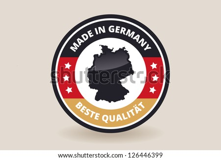 Made in Germany Quality Flag Label - stock vector