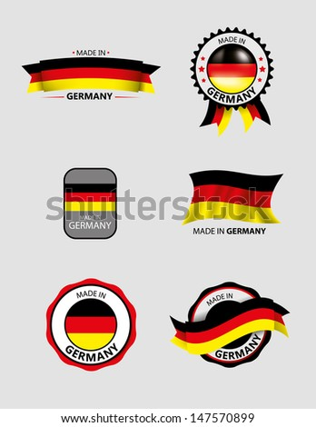 Made in Germany, Seals, Flags, - stock vector