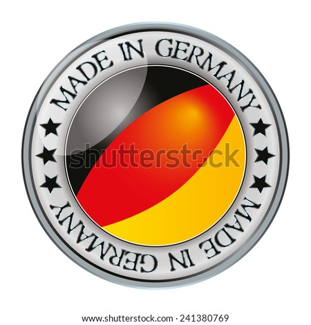 Made in Germany silver badge and icon with central glossy germany flag symbol and stars. Vector EPS 10 illustration isolated on white background. - stock vector
