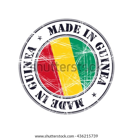 Made in Guinea grunge rubber stamp with flag - stock vector
