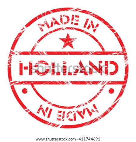 Made in Holland grunge rubber stamp - stock vector