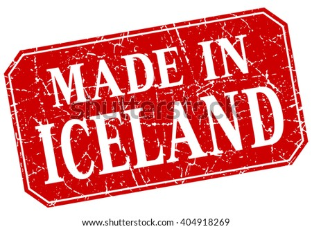 made in Iceland red square grunge stamp