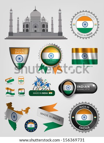 Made in India, seals, flags, Vector ribbons  - stock vector