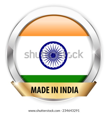 made in india silver badge isolated button on white background - vector eps10
