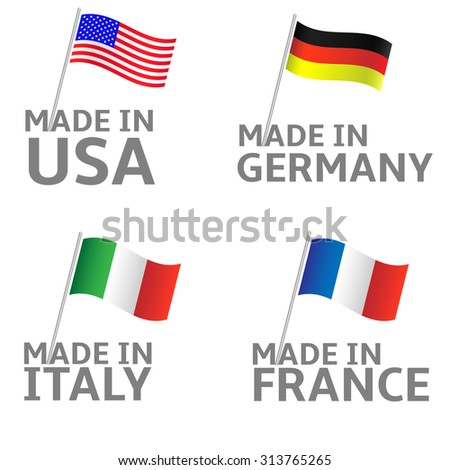Made in Italy Germany USA France labels. Flag set - stock vector