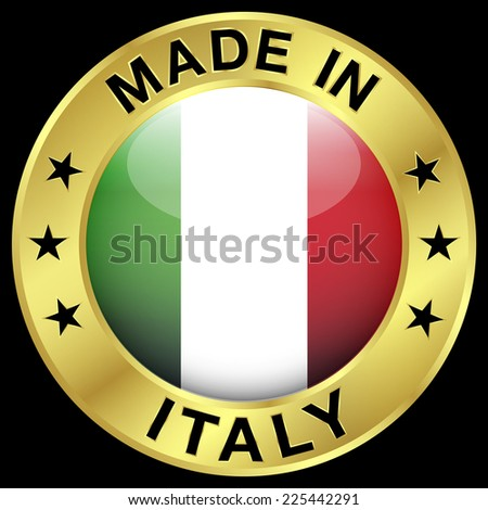Made in Italy gold badge and icon with central glossy Italian flag symbol and stars. Vector EPS 10 illustration isolated on black background. - stock vector