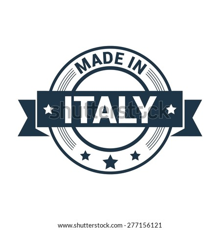 Made in Italy . Round blue rubber stamp design isolated on white background. With vintage texture. vector illustration - stock vector