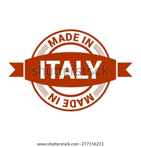Made in Italy . Round red rubber stamp design isolated on white background. With vintage texture. vector illustration - stock vector