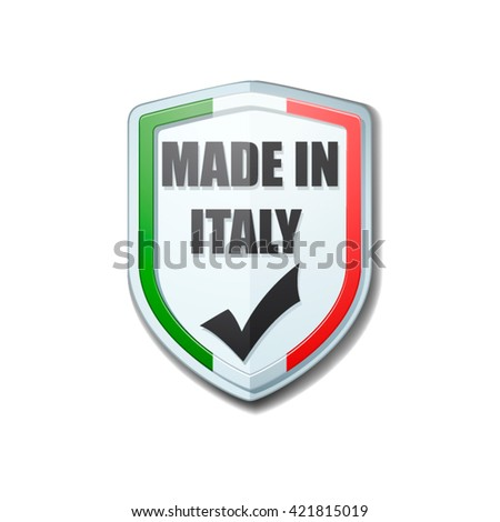 Made in Italy shield sign - stock vector