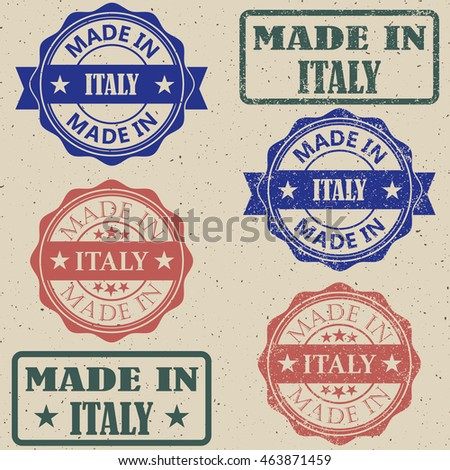 Made in Italy stamp set vector illustration.