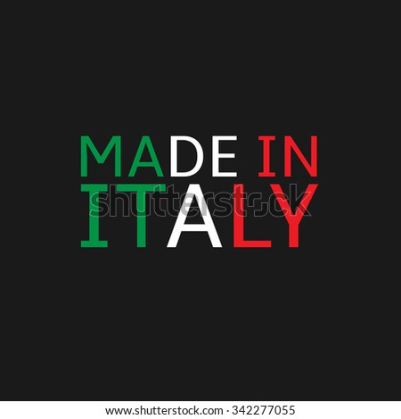 Made in Italy text. Colours of Italy flag, Vector illustration - stock vector
