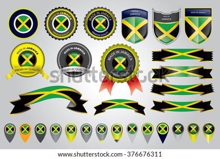 Made in Jamaica Seal, Jamaican Flag (Vector Art) - stock vector