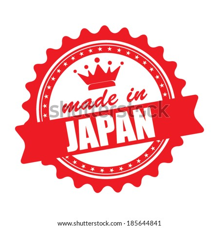 Made in Japan graphics icon, label and stamp isolated on white background. Vector illustration