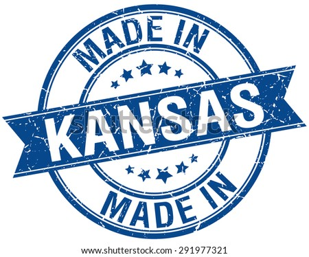 made in Kansas blue round vintage stamp
