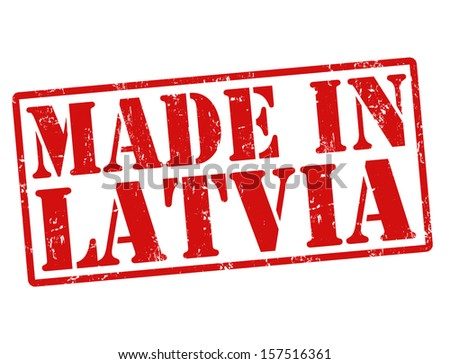 Made in Latvia grunge rubber stamp on white, vector illustration