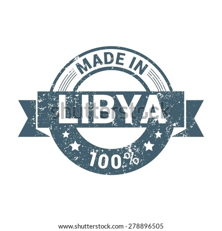 Made in Libya - Round blue grunge rubber stamp design isolated on white background. vector illustration vintage texture. - stock vector