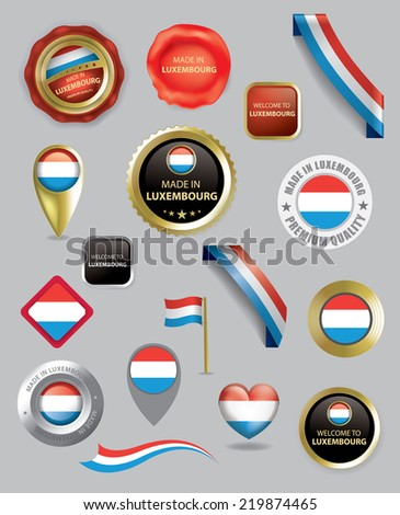 made in Luxembourg Seal Collection, Flag (Vector Art)