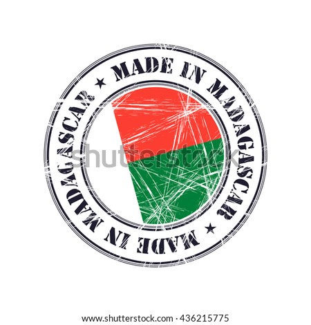 Made in Madagascar grunge rubber stamp with flag - stock vector