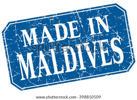 made in Maldives blue square grunge stamp
