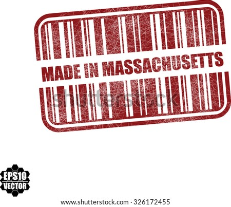 Made in Massachusetts With Barcode And Shadow Red Grunge Stamp Isolated On White Background. Vector illustration  - stock vector