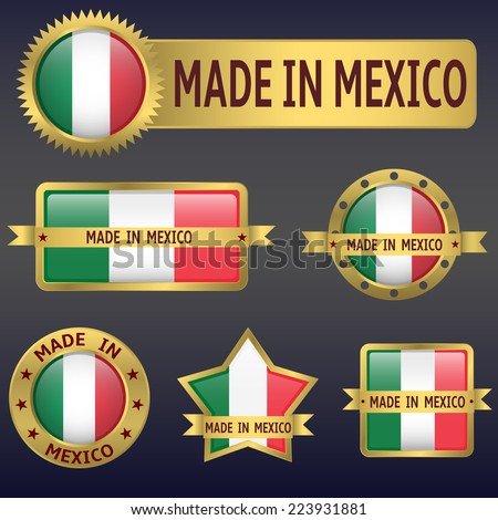 made in Mexico labels and stickers. Vector illustration. - stock vector