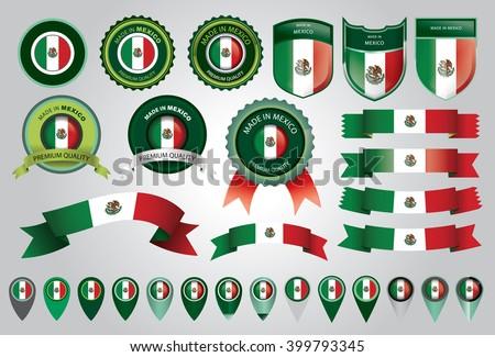 Made in Mexico Seal, Mexican Flag (Vector Art) - stock vector