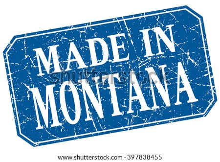 made in Montana blue square grunge stamp