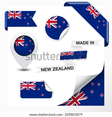 Made in New Zealand collection of ribbon, label, stickers, pointer, badge, icon and page curl with New Zealander flag symbol on design element. Vector EPS 10 illustration isolated on white background. - stock vector