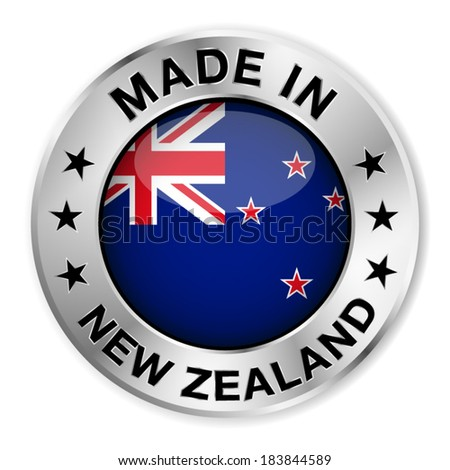Made in New Zealand silver badge and icon with central glossy New Zealander flag symbol and stars. Vector EPS 10 illustration isolated on white background. - stock vector
