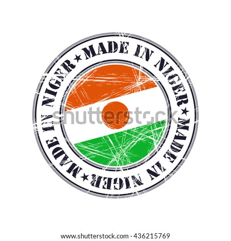 Made in Niger grunge rubber stamp with flag - stock vector