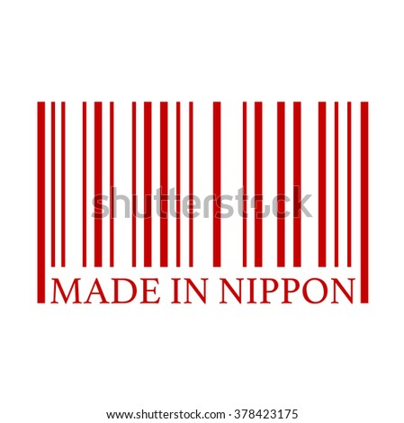 Made in Nippon full bar code. Flat design business financial marketing banking marketing advertising web minimal concept illustration.