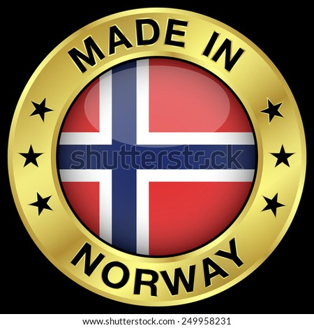 Made in Norway gold badge and icon with central glossy Norwegian flag symbol and stars. Vector EPS 10 illustration isolated on black background. - stock vector
