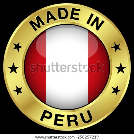 Made in Peru gold badge and icon with central glossy Peruvian flag symbol and stars. Vector EPS 10 illustration isolated on black background. - stock vector