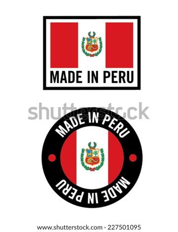 Made in Peru Icon Set - Vector - stock vector