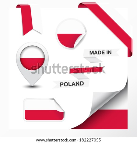 Made in Poland collection of ribbon, label, stickers, pointer, badge, icon and page curl with Polish flag symbol on design element. Vector EPS 10 illustration isolated on white background. - stock vector