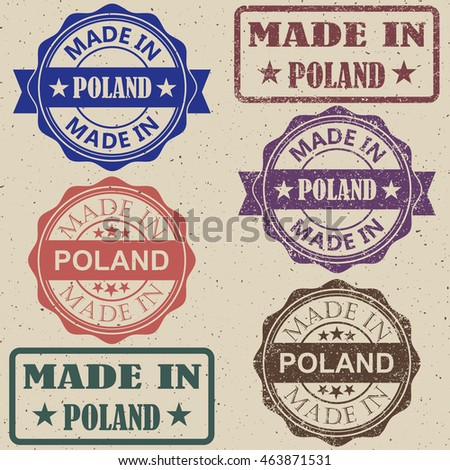 Made in Poland set of stamps vector illustration.