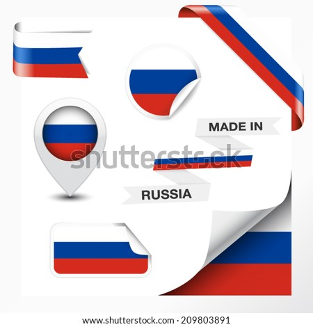 Made in Russia collection of ribbon, label, stickers, pointer, badge, icon and page curl with Russian flag symbol on design element. Vector EPS 10 illustration isolated on white background. - stock vector