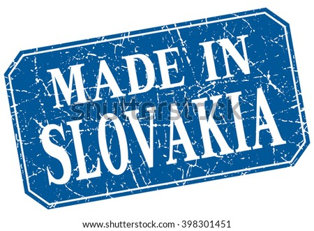 made in Slovakia blue square grunge stamp