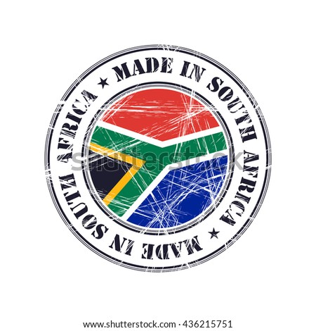 Made in South Africa grunge rubber stamp with flag - stock vector