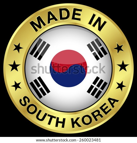 Made in South Korea gold badge and icon with central glossy South Korean flag symbol and stars. Vector EPS 10 illustration isolated on black background. - stock vector