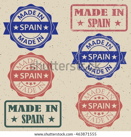 Made in Spain a set of stamps vector illustration.