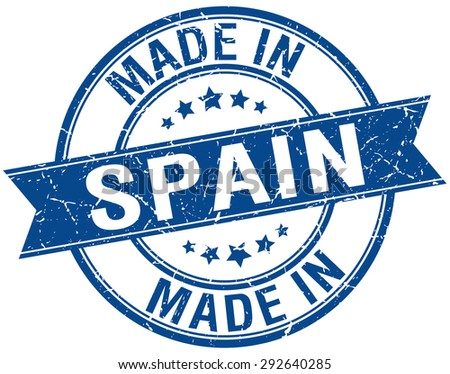 made in Spain blue round vintage stamp