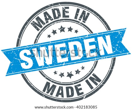made in Sweden blue round vintage stamp - stock vector